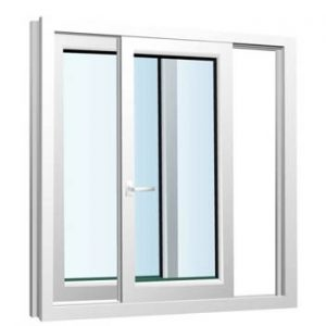 پنجره دوجداره UPVC کشویی تک ریلی یک لنگه باز شو