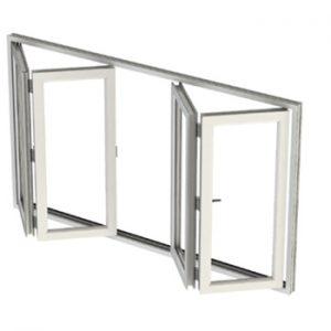 پنجره دوجداره UPVC آکاردئونی چهار لنگه