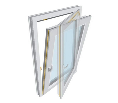 پنجره UPVC لولایی دو حالته Tilt & Turn