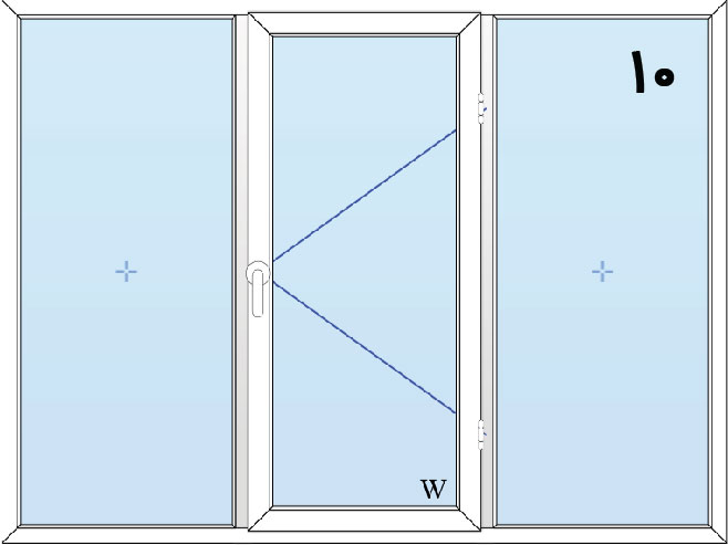 10-پنجره لولایی سه لنگه(وسط بازشو)