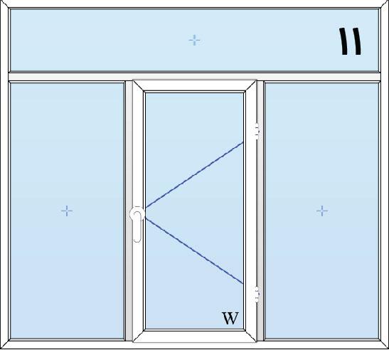11-پنجره لولایی سه لنگه(وسط بازشو) با کتیبه بالا