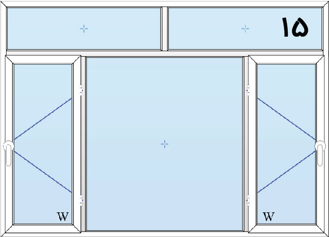 15-پنجره لولایی سه لنگه دولنگه بازشو با کتیبه بالا