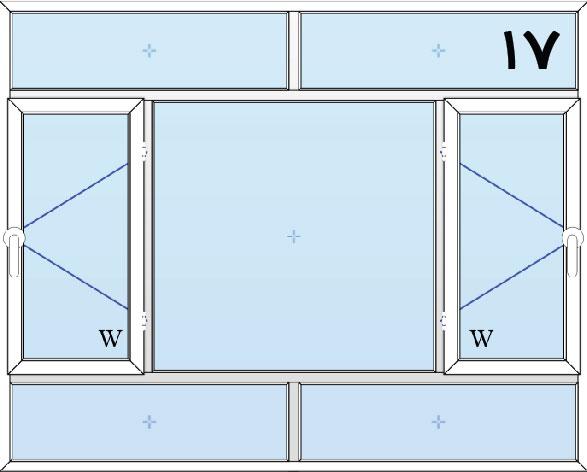 17-پنجره لولایی سه لنگه دولنگه بازشو با کتیبه بالا و پایین