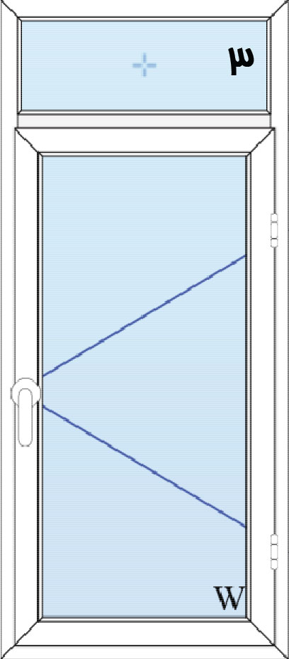 3-پنجره لولایی تک لنگه با کتیبه بالا