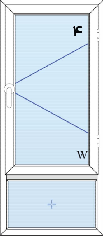 4-پنجره لولایی تک لنگه با کتیبه پایین