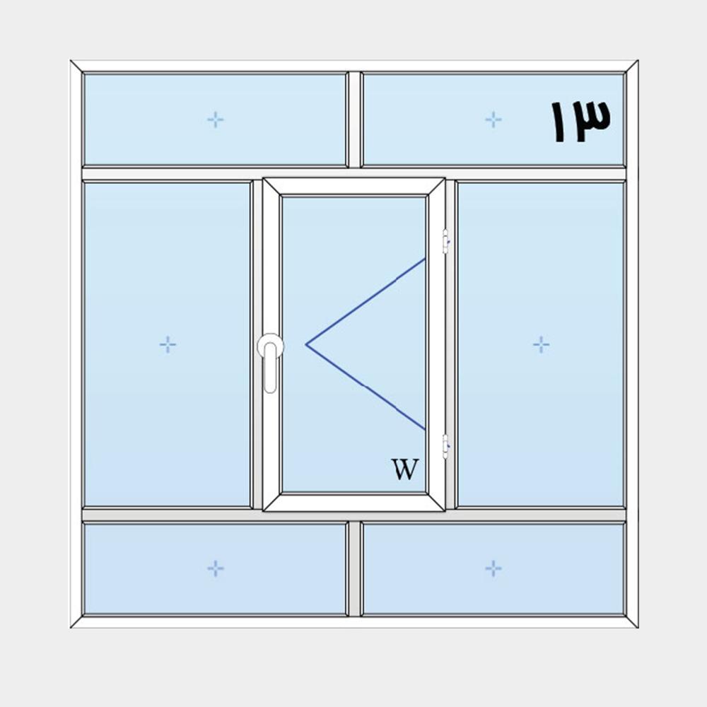 13-پنجره لولایی سه لنگه(وسط بازشو) با کتیبه بالا و پایین