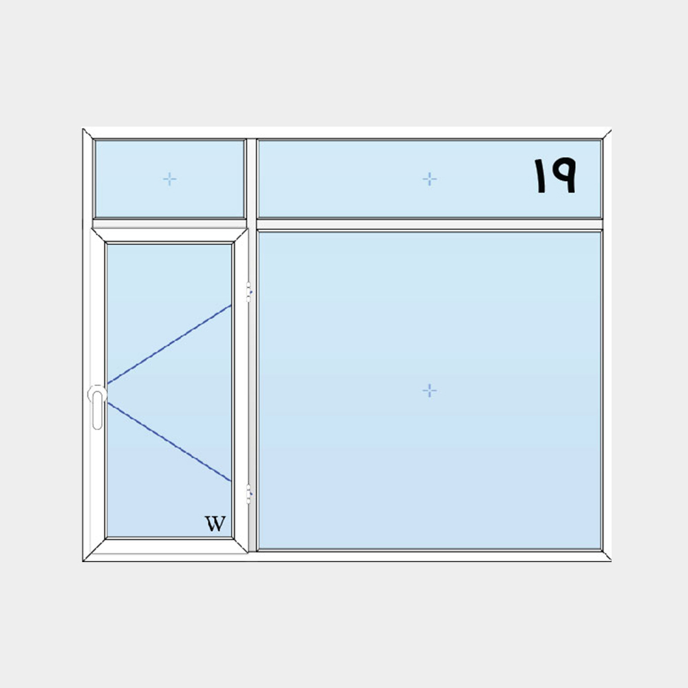 19-پنجره لولایی دولنگه با کتیبه بالا